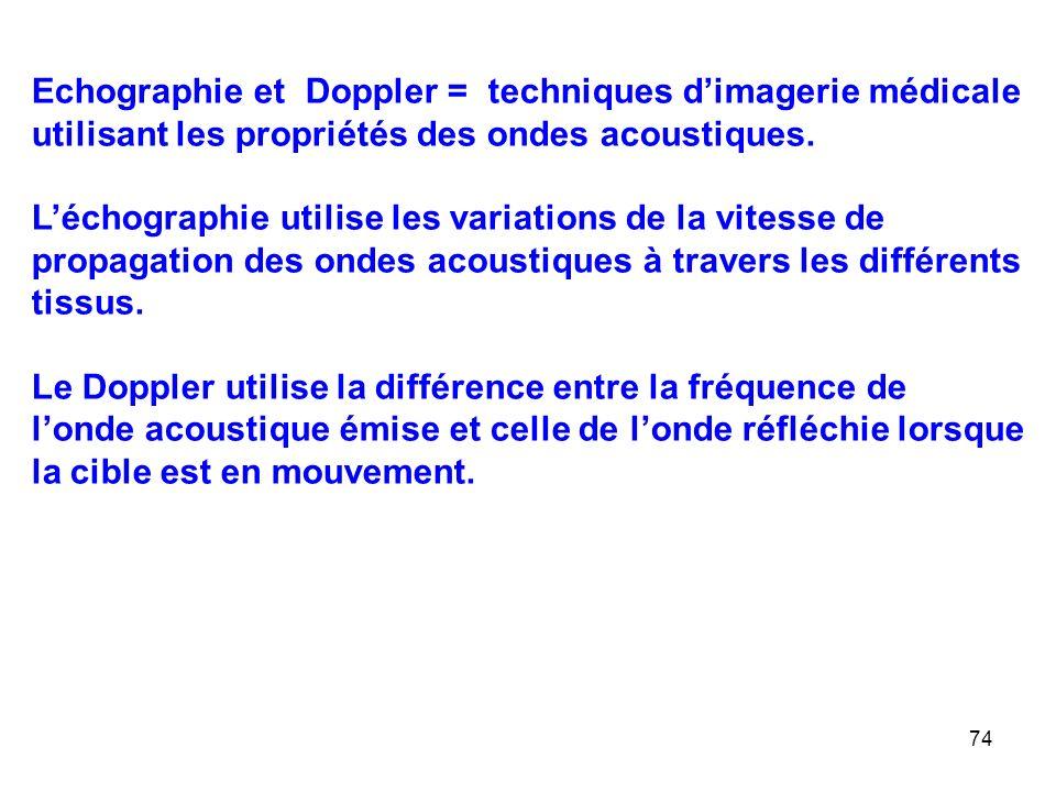 Echographie et Doppler = techniques d'imagerie médicale utilisant les propriétés des ondes acoustiques.