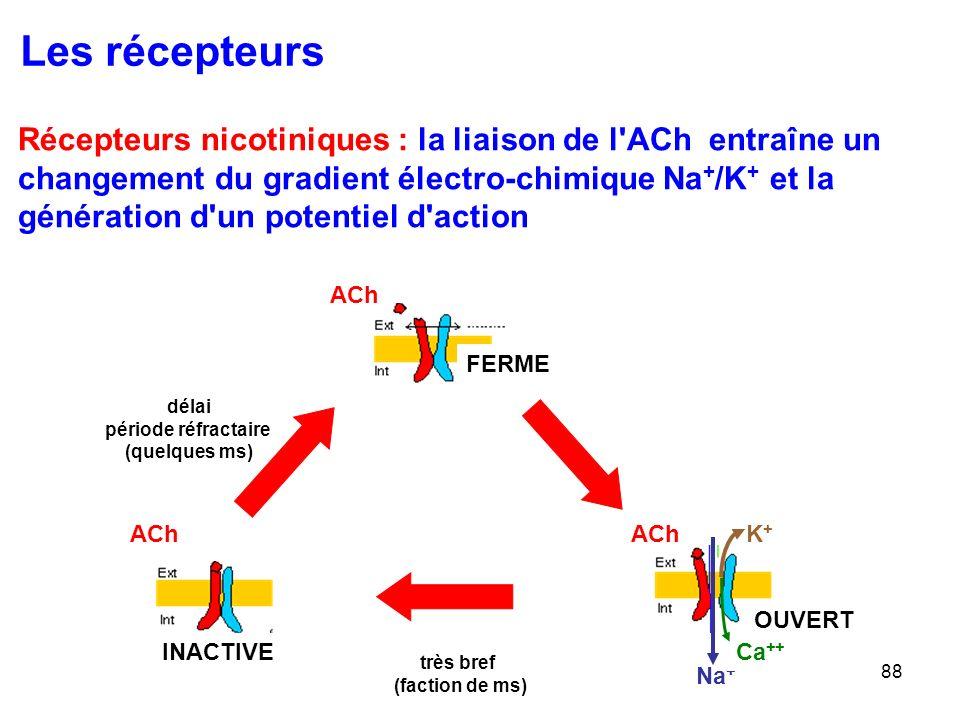 Les récepteurs Récepteurs nicotiniques : la liaison de l ACh entraîne un. changement du gradient électro-chimique Na+/K+ et la.