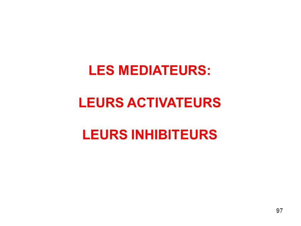 LES MEDIATEURS: LEURS ACTIVATEURS LEURS INHIBITEURS