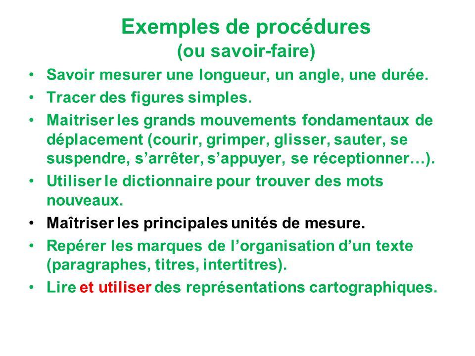 Exemples de procédures (ou savoir-faire)