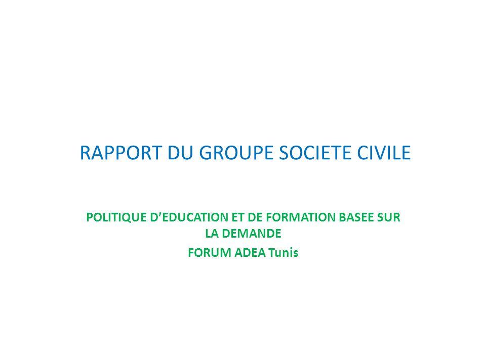 RAPPORT DU GROUPE SOCIETE CIVILE