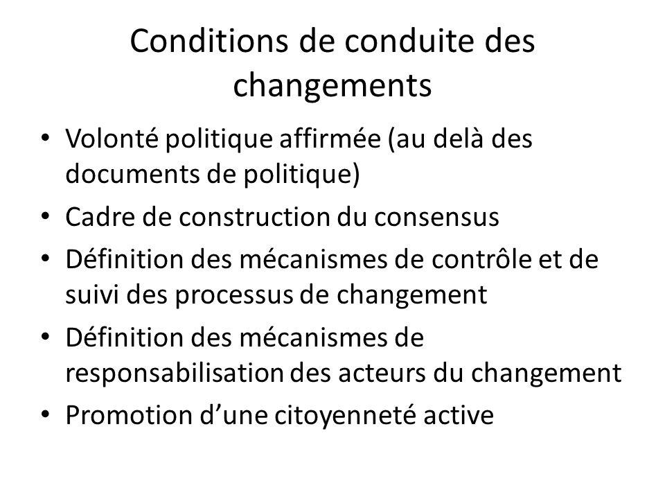 Conditions de conduite des changements