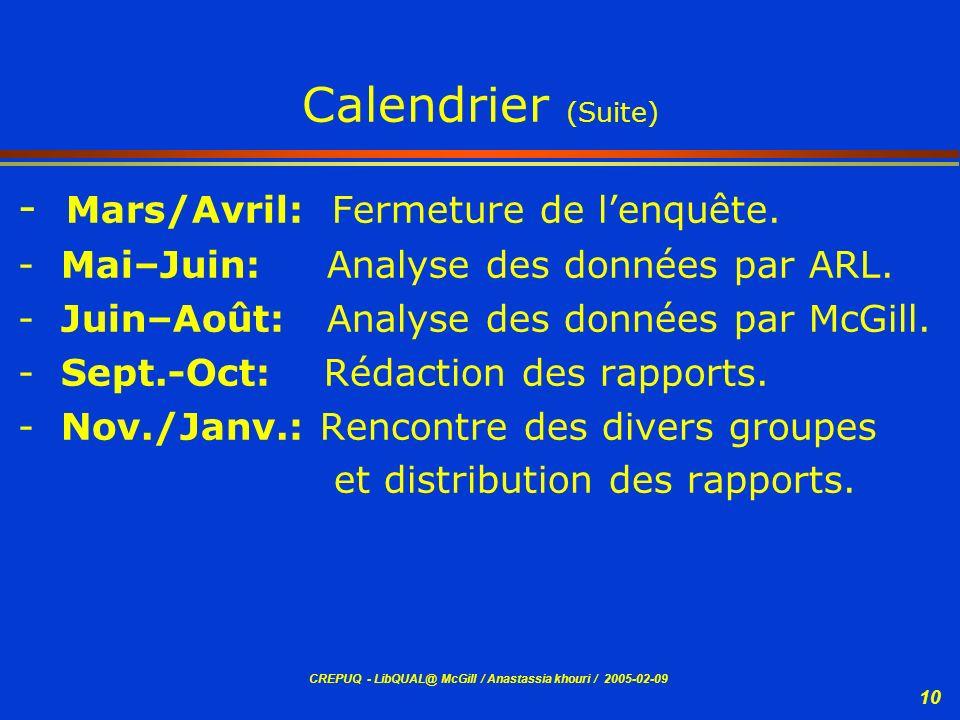Calendrier (Suite) Mars/Avril: Fermeture de l'enquête.