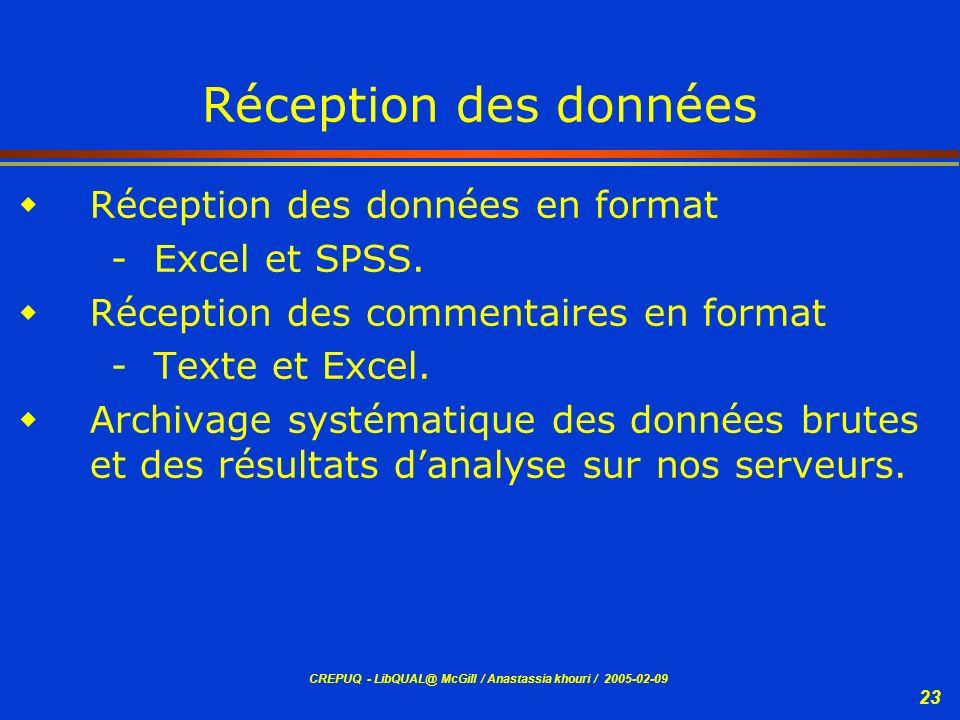 Réception des données Réception des données en format - Excel et SPSS.