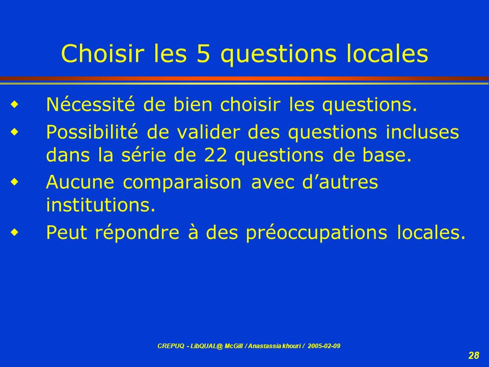 Choisir les 5 questions locales
