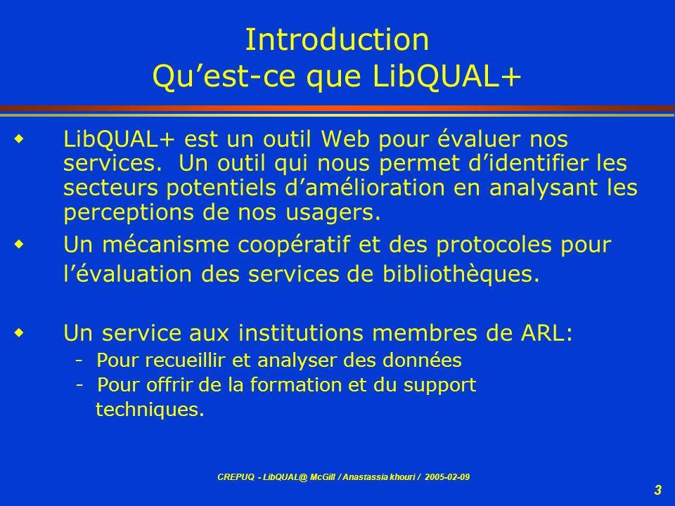 Introduction Qu'est-ce que LibQUAL+