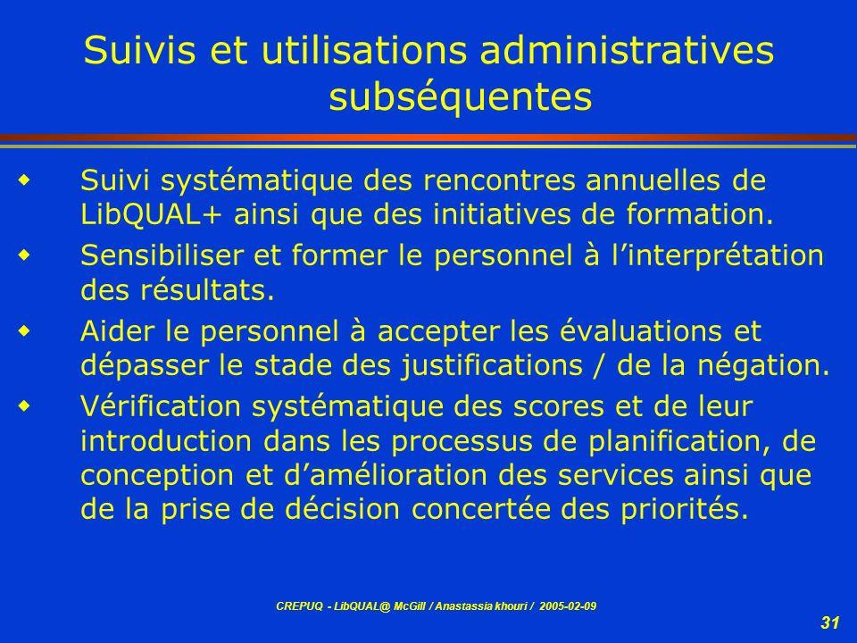 Suivis et utilisations administratives subséquentes