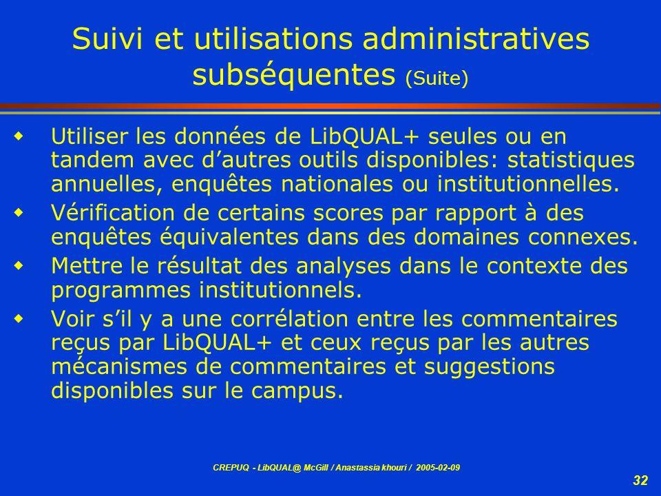 Suivi et utilisations administratives subséquentes (Suite)