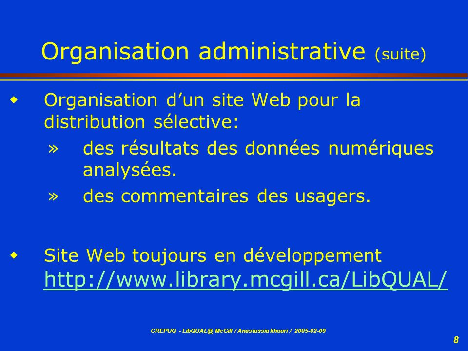 Organisation administrative (suite)