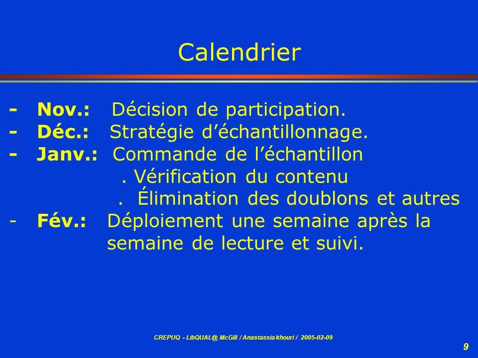 Calendrier - Nov.: Décision de participation.