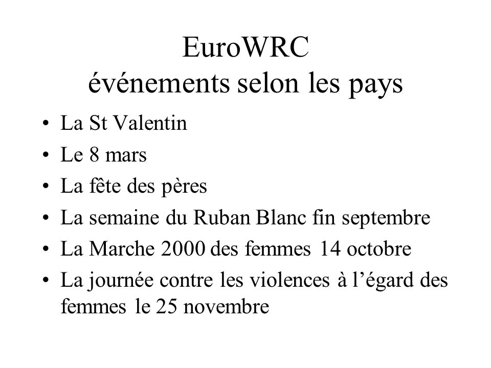EuroWRC événements selon les pays