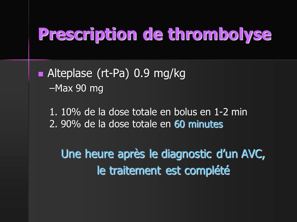 Prescription de thrombolyse