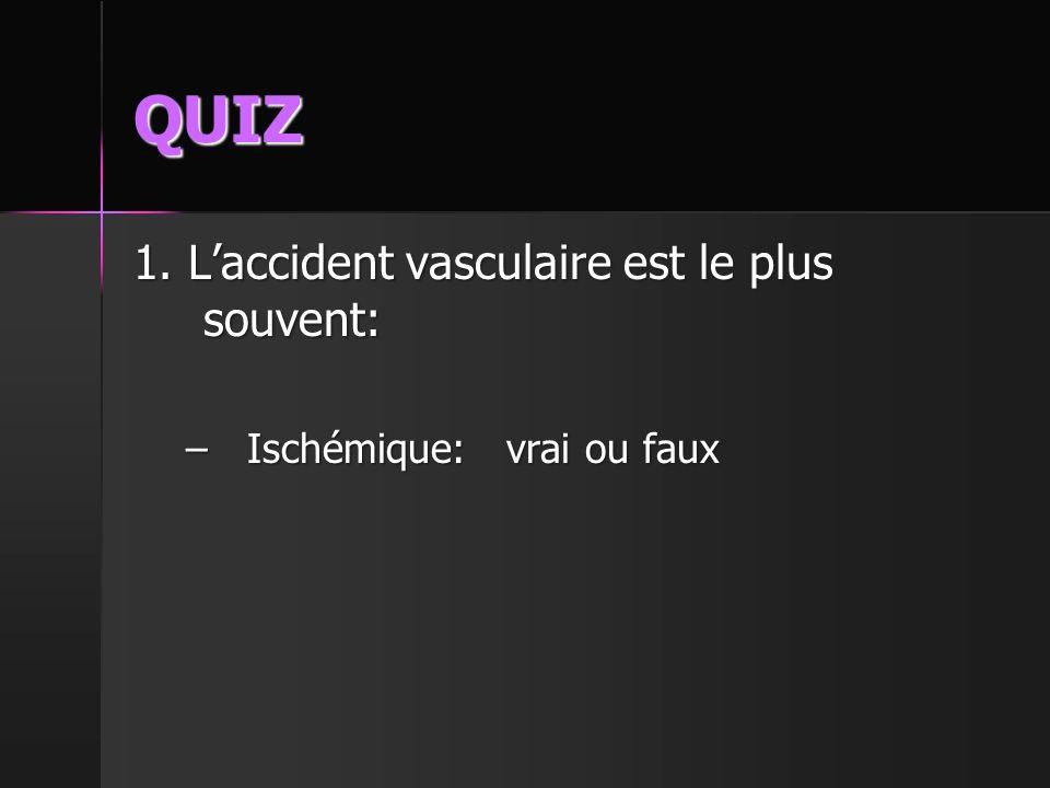 QUIZ 1. L'accident vasculaire est le plus souvent: