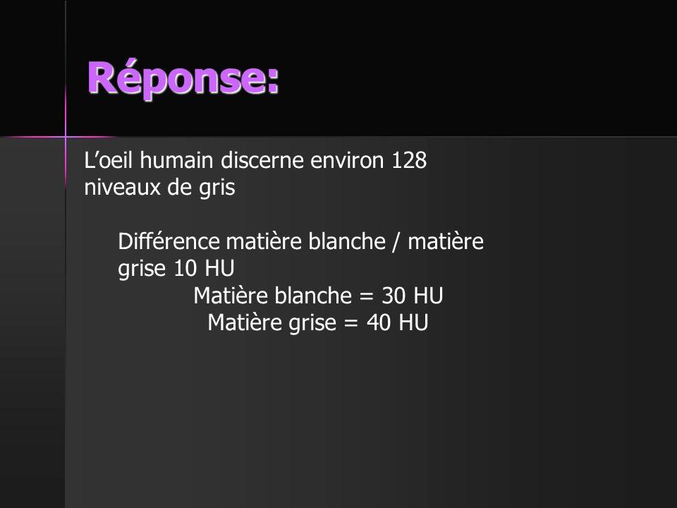 Réponse: L'oeil humain discerne environ 128 niveaux de gris