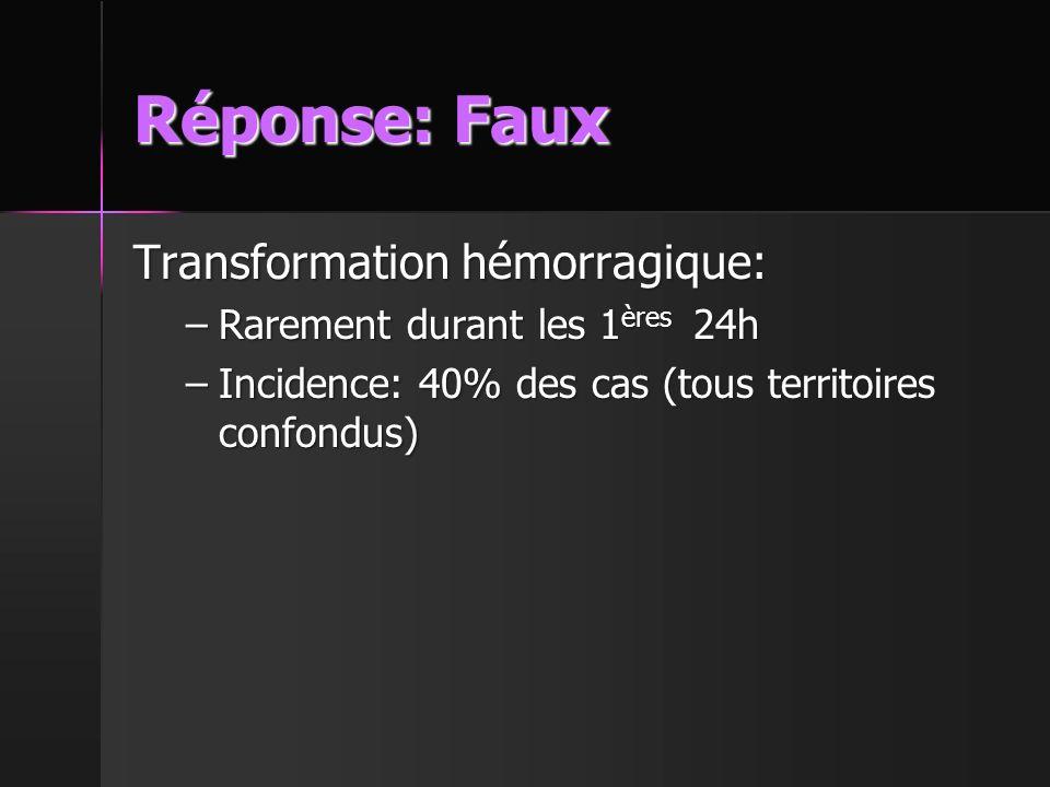 Réponse: Faux Transformation hémorragique:
