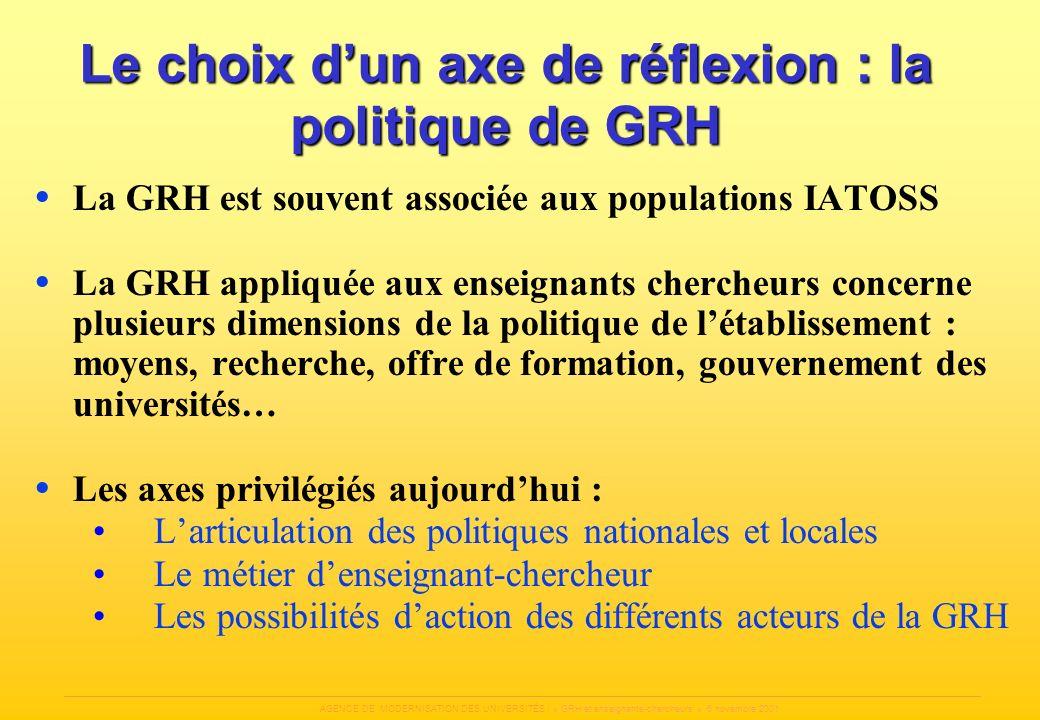 Le choix d'un axe de réflexion : la politique de GRH