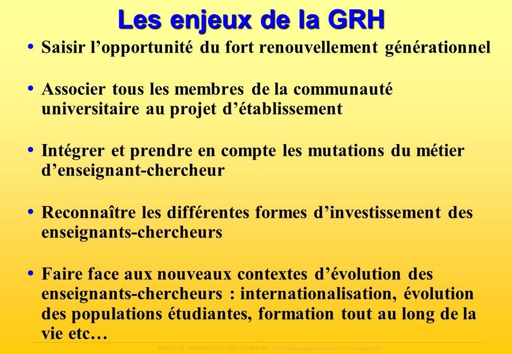 Les enjeux de la GRH Saisir l'opportunité du fort renouvellement générationnel.