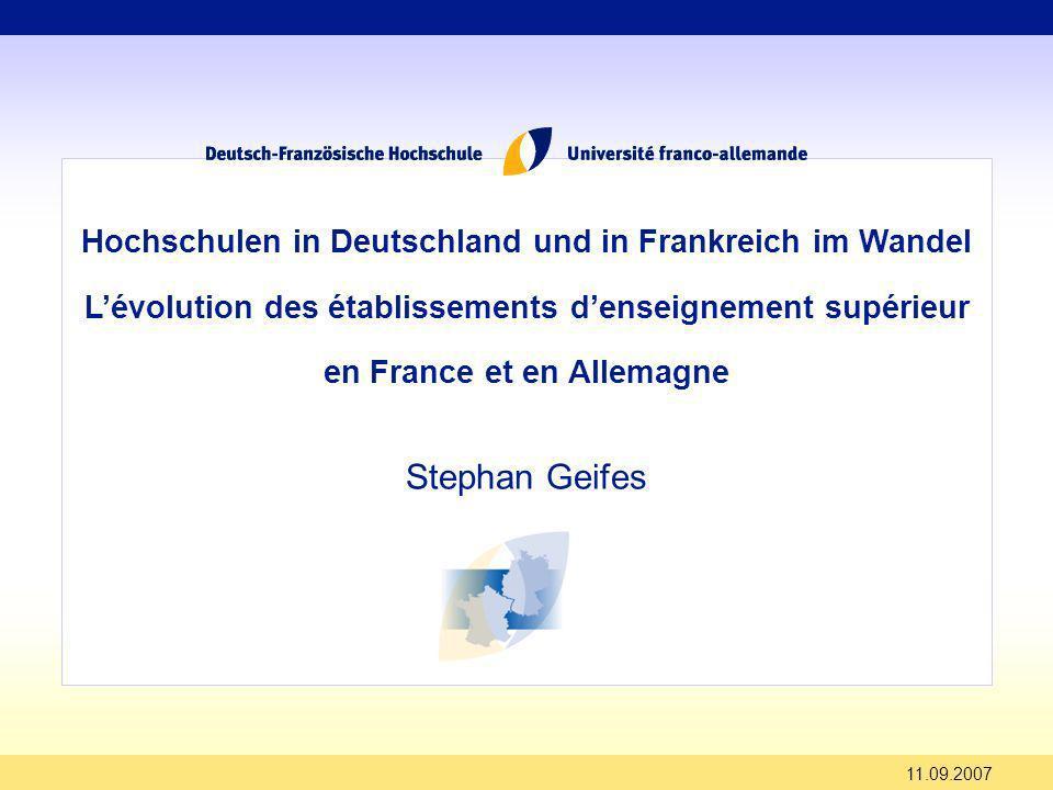 Stephan Geifes Hochschulen in Deutschland und in Frankreich im Wandel