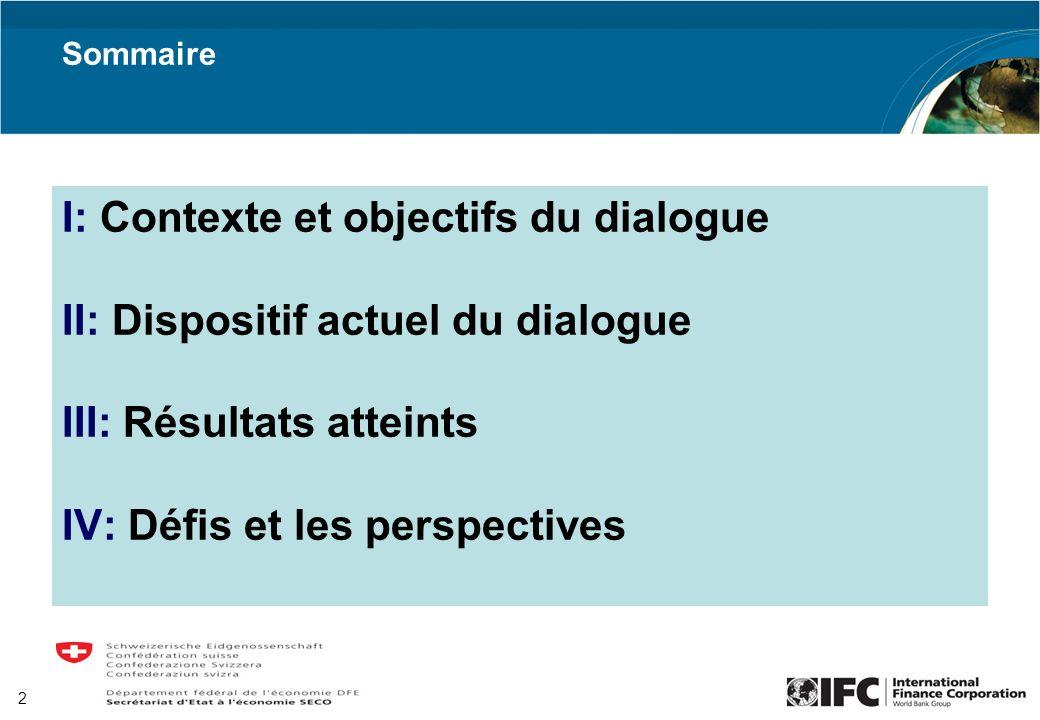 I: Contexte et objectifs du dialogue II: Dispositif actuel du dialogue