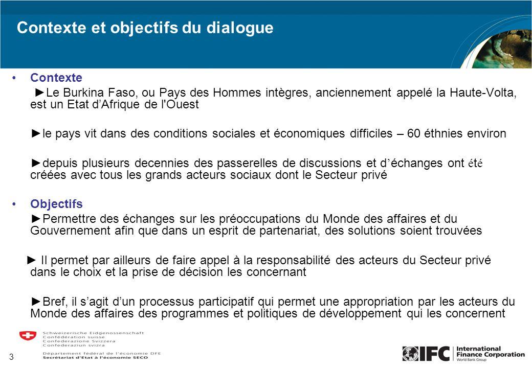 Contexte et objectifs du dialogue