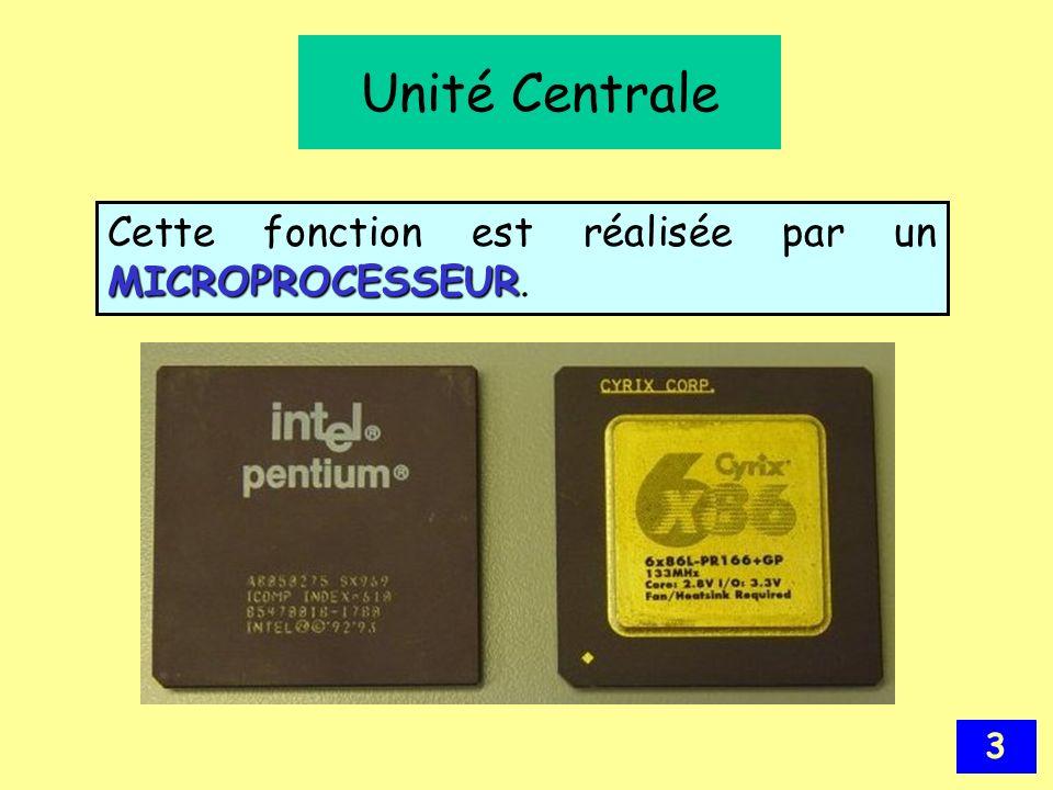 Unité Centrale Cette fonction est réalisée par un MICROPROCESSEUR.