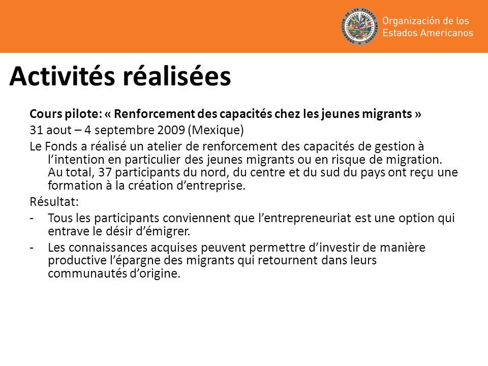 Activités réalisées Cours pilote: « Renforcement des capacités chez les jeunes migrants » 31 aout – 4 septembre 2009 (Mexique)