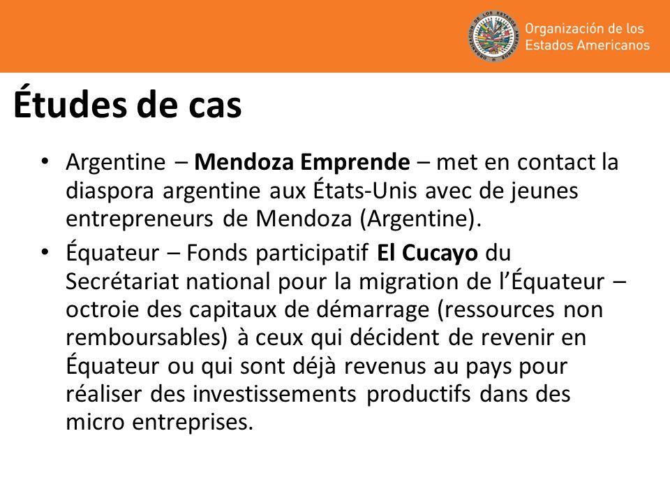 Études de cas Argentine – Mendoza Emprende – met en contact la diaspora argentine aux États-Unis avec de jeunes entrepreneurs de Mendoza (Argentine).