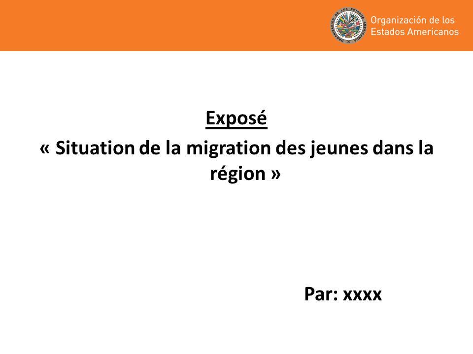 « Situation de la migration des jeunes dans la région »