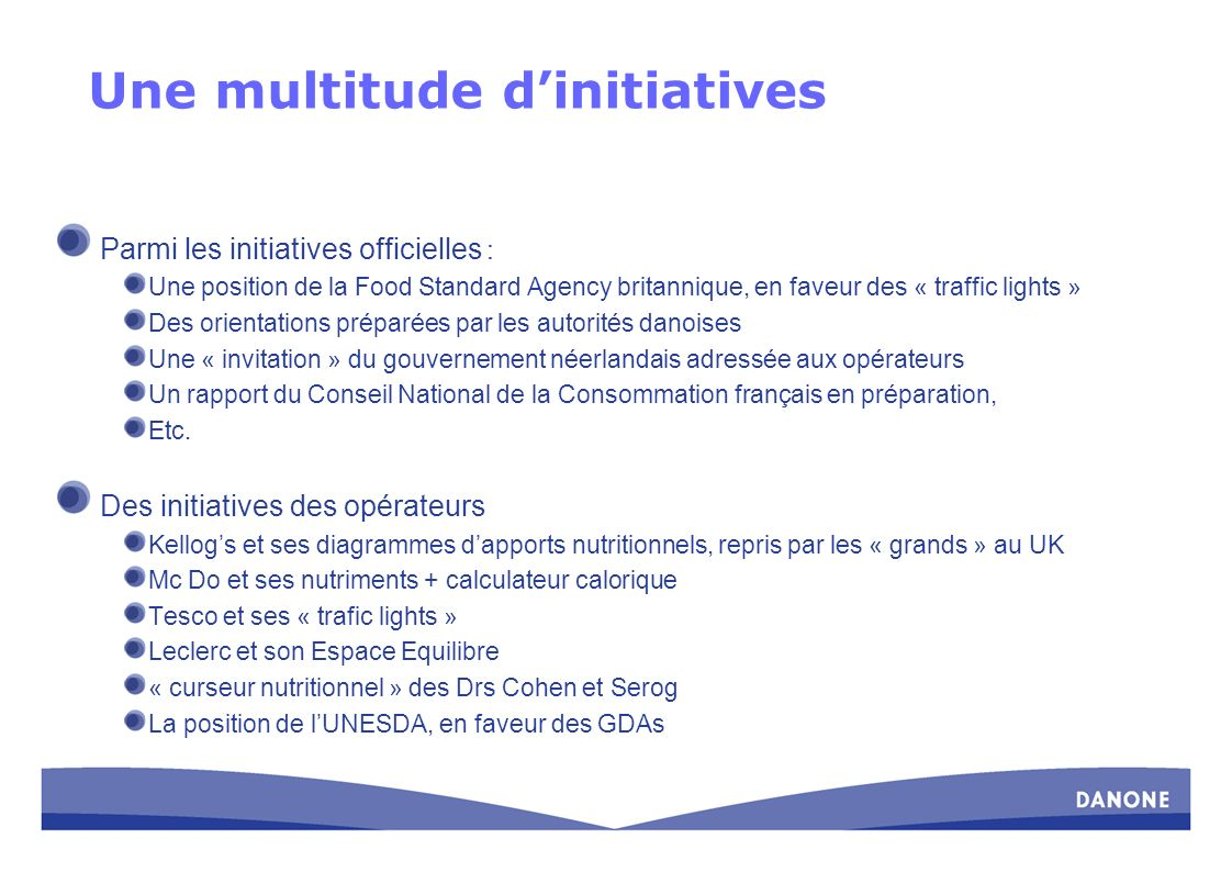 Une multitude d'initiatives