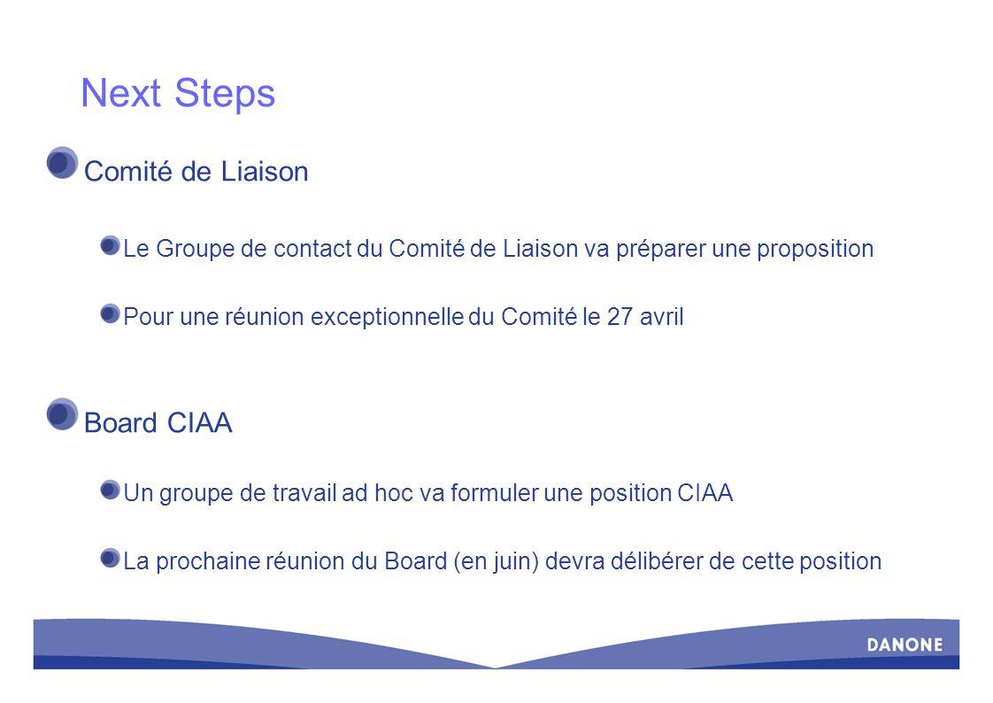 Next Steps Comité de Liaison Board CIAA
