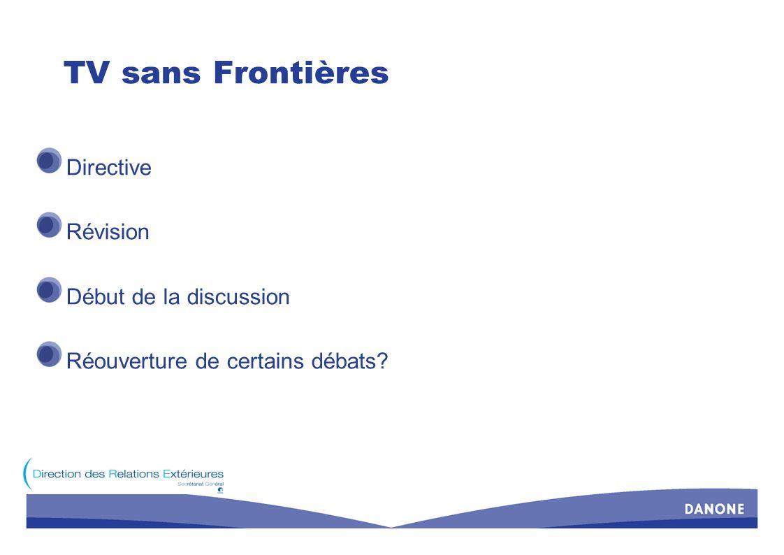 TV sans Frontières Directive Révision Début de la discussion