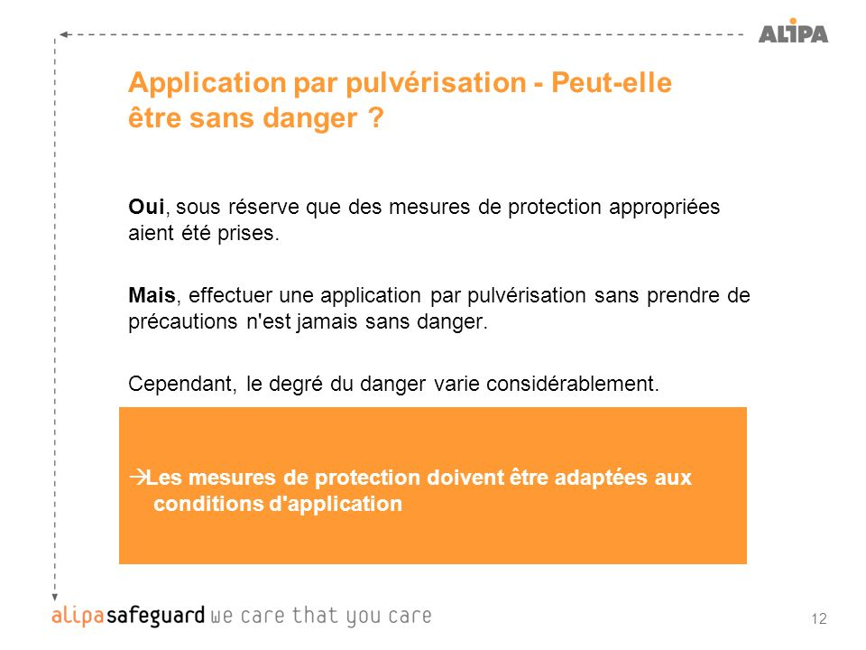 Application par pulvérisation - Peut-elle être sans danger