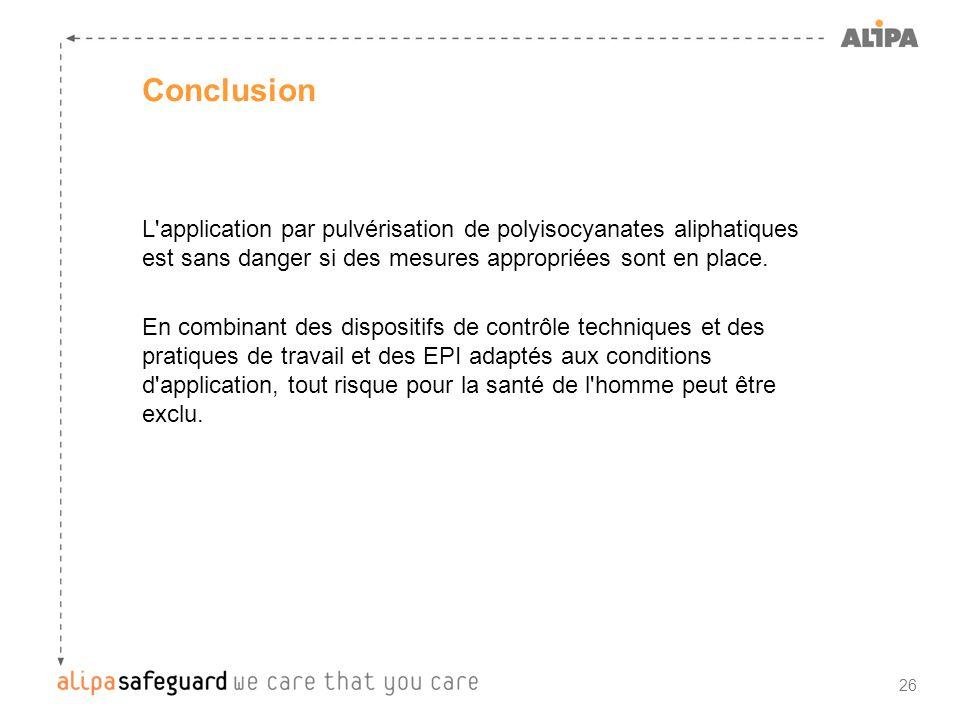 Conclusion L application par pulvérisation de polyisocyanates aliphatiques est sans danger si des mesures appropriées sont en place.