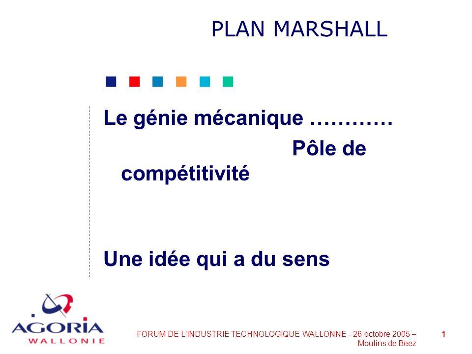 PLAN MARSHALL Le génie mécanique ………… Pôle de compétitivité Une idée qui a du sens