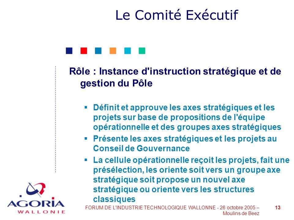 Le Comité Exécutif Rôle : Instance d instruction stratégique et de gestion du Pôle.