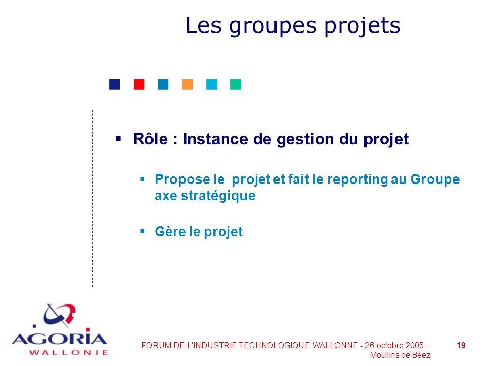 Les groupes projets Rôle : Instance de gestion du projet