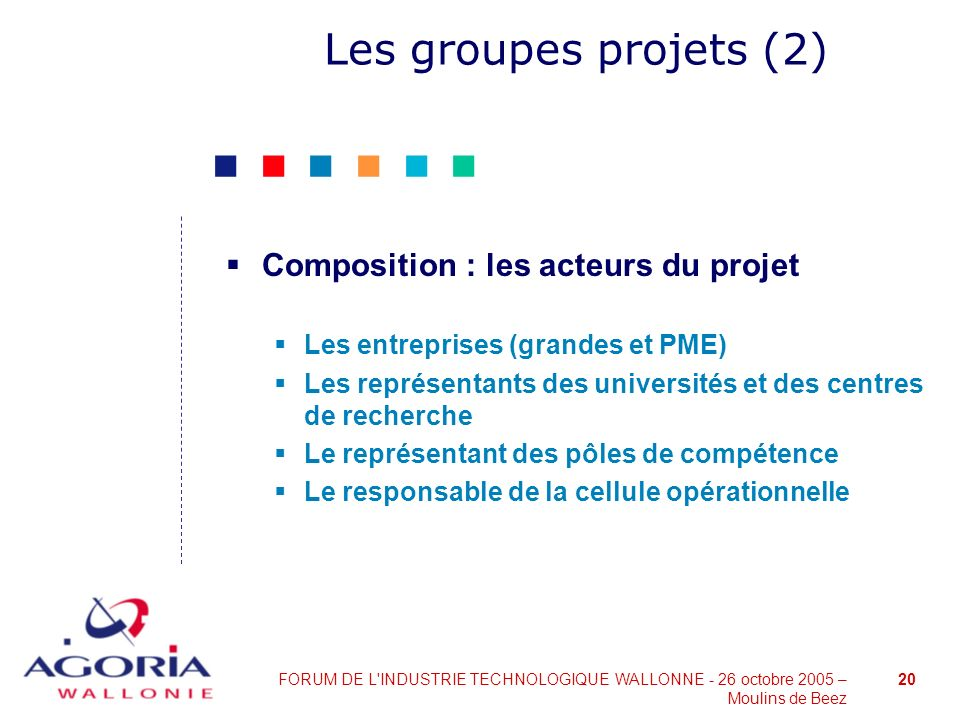 Les groupes projets (2) Composition : les acteurs du projet