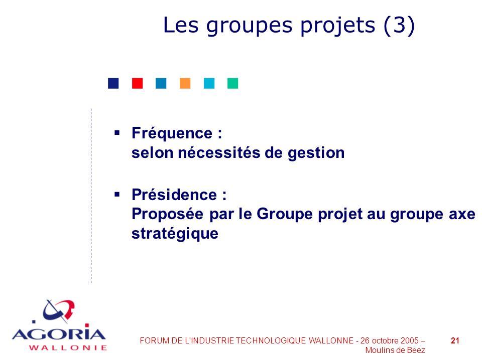 Les groupes projets (3) Fréquence : selon nécessités de gestion