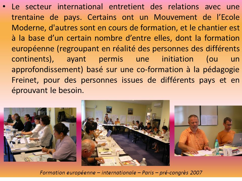Formation européenne – internationale – Paris – pré-congrès 2007