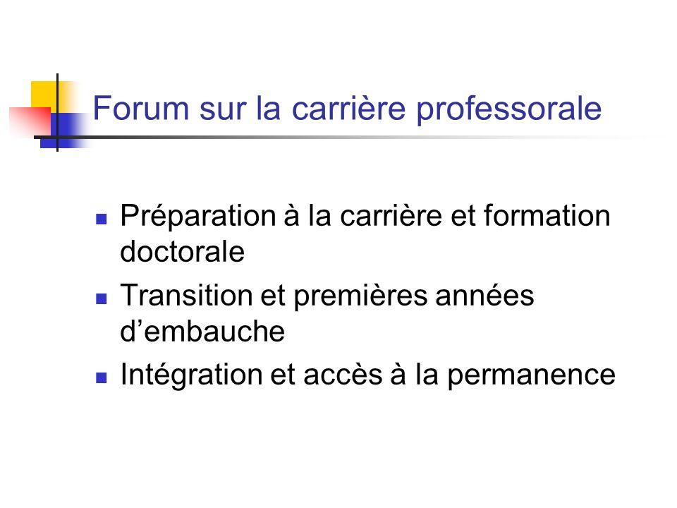 Forum sur la carrière professorale