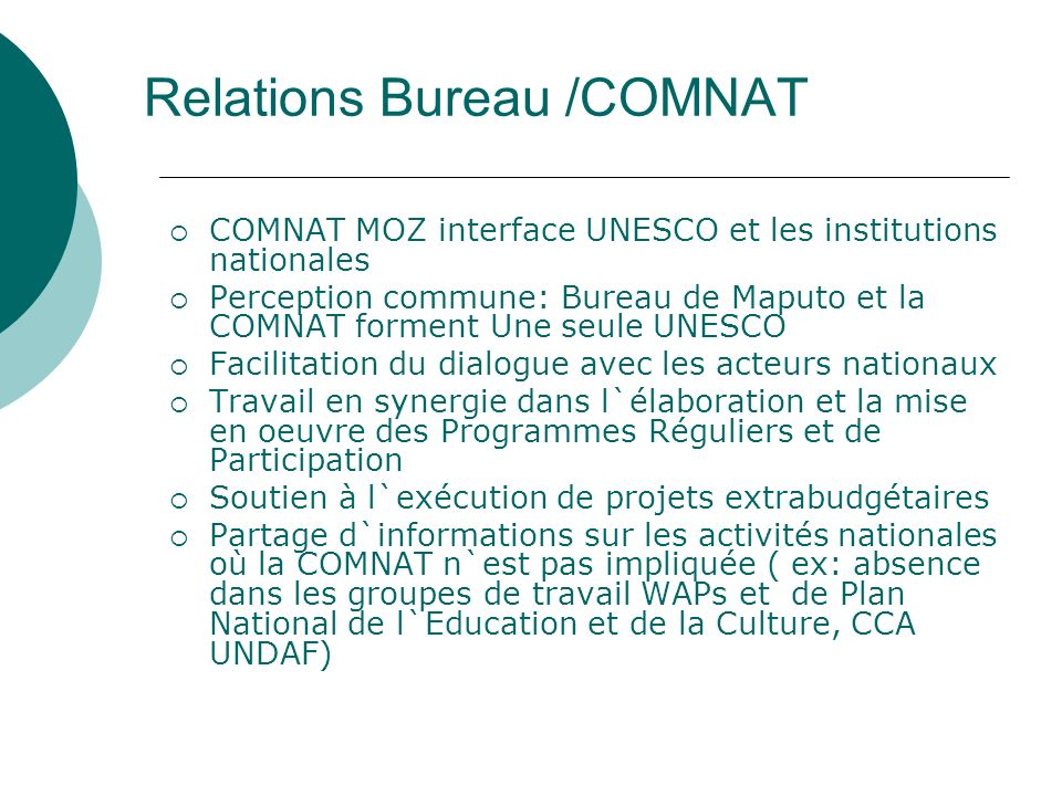 Relations Bureau /COMNAT
