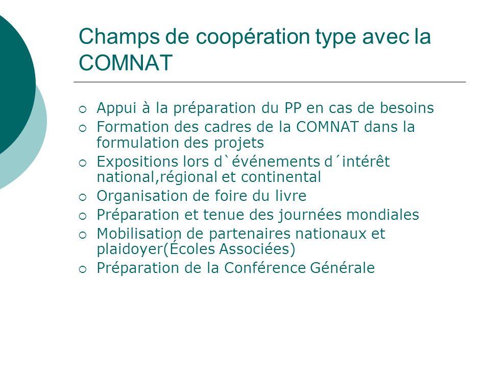 Champs de coopération type avec la COMNAT