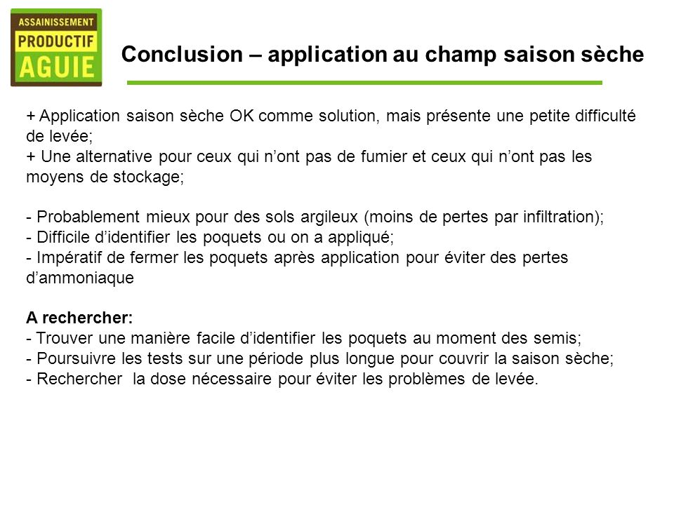 Conclusion – application au champ saison sèche