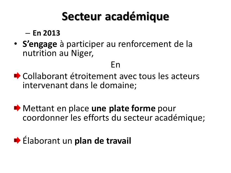 Secteur académiqueEn 2013. S'engage à participer au renforcement de la nutrition au Niger, En.