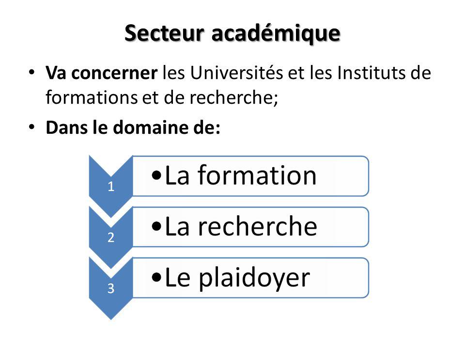 Secteur académiqueVa concerner les Universités et les Instituts de formations et de recherche; Dans le domaine de: