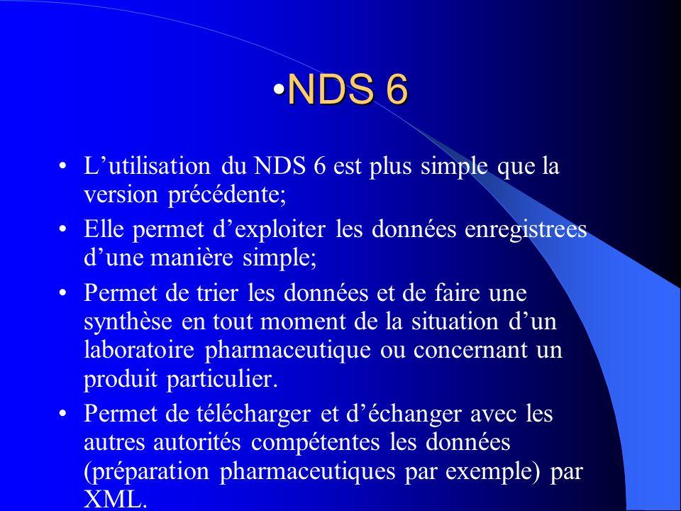 NDS 6 L'utilisation du NDS 6 est plus simple que la version précédente; Elle permet d'exploiter les données enregistrees d'une manière simple;