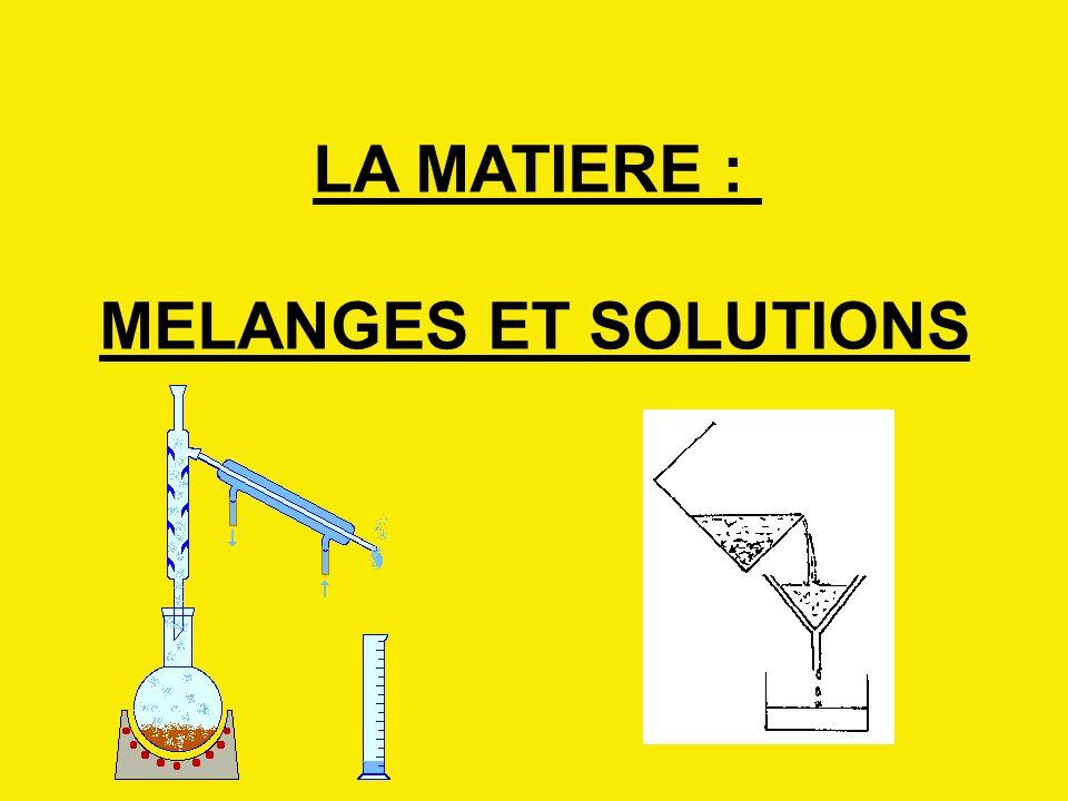 LA MATIERE : MELANGES ET SOLUTIONS