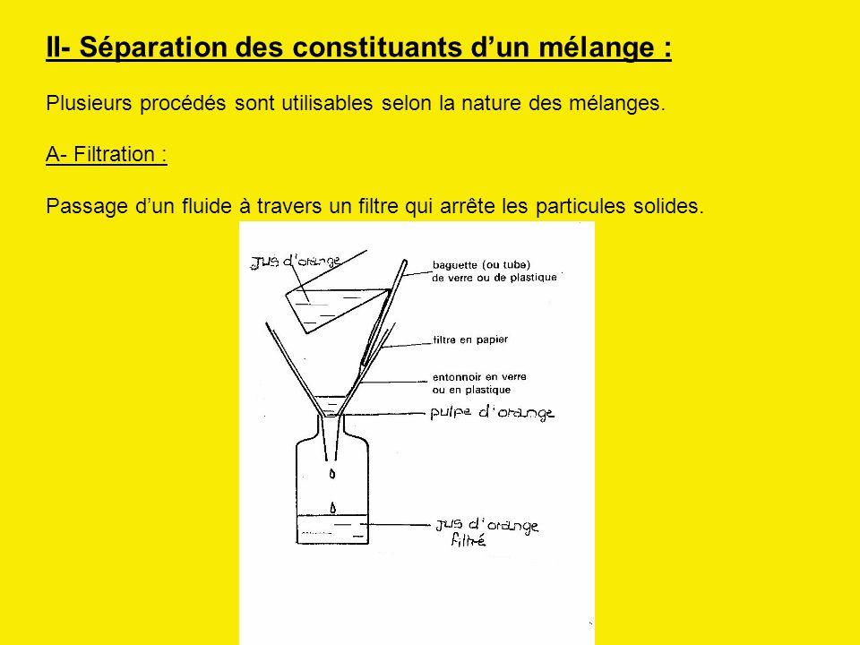 II- Séparation des constituants d'un mélange :