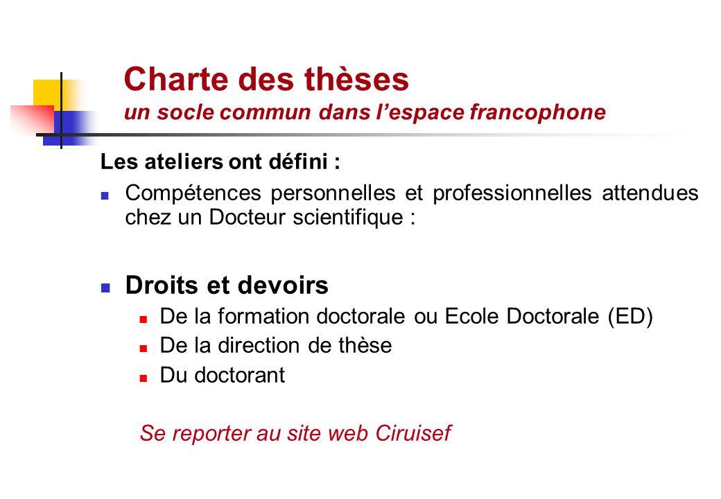 Charte des thèses un socle commun dans l'espace francophone