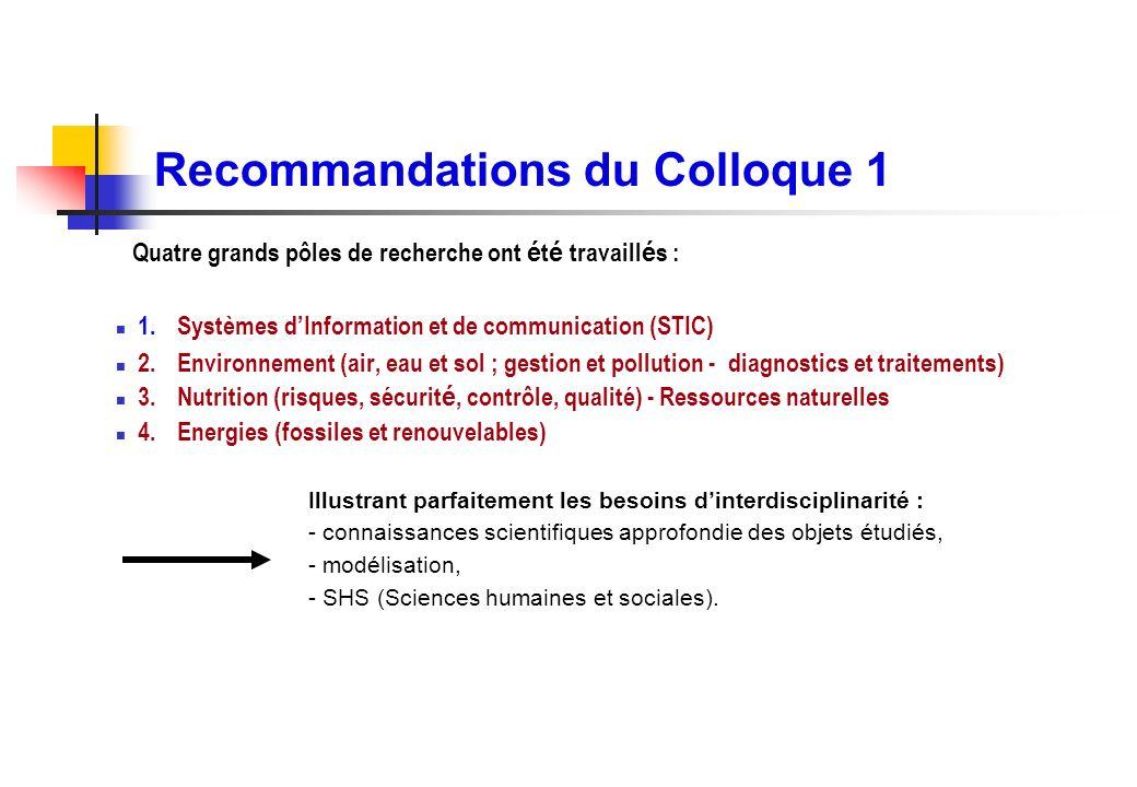 Recommandations du Colloque 1